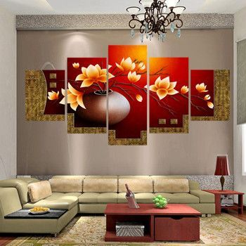 Piece Picture Flower Vase Canvas Art Print Oil Painting Wall