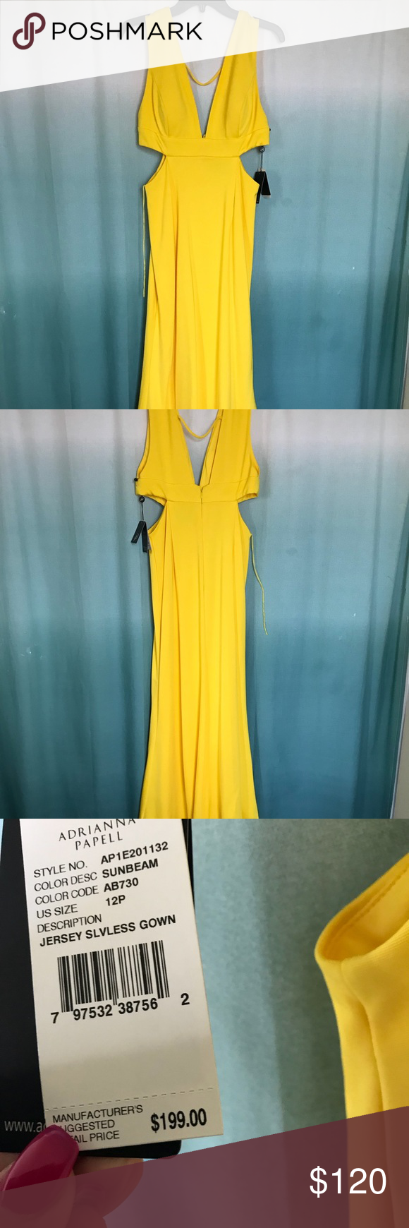 Nwt adrianna papell yellow long dress sz prom nwt yellow gown