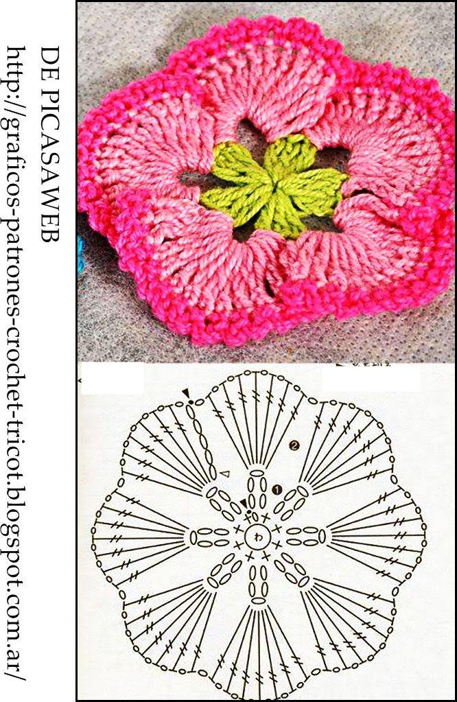 Pin de Rita en FLORES EN CRÓCHE | Pinterest | Flores tejidas ...