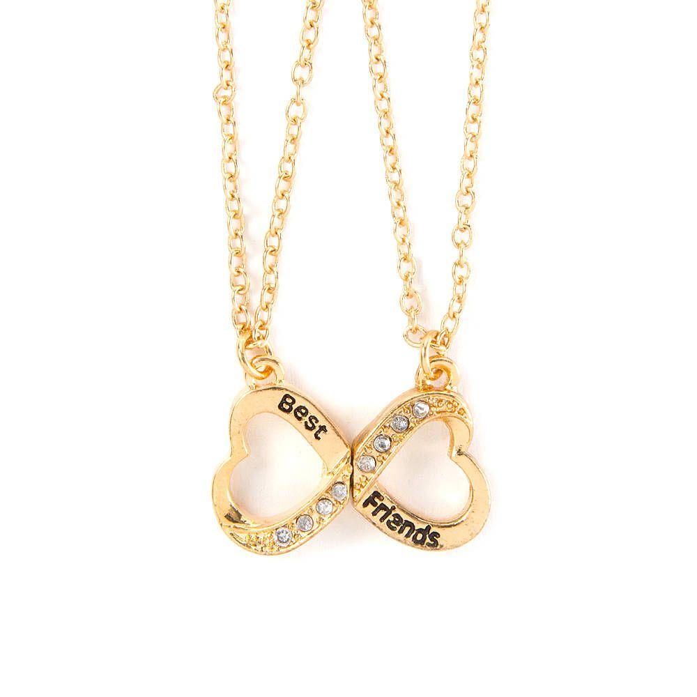 Best Friends Infinity Symbol Heart Pendant Necklaces Set Of 2