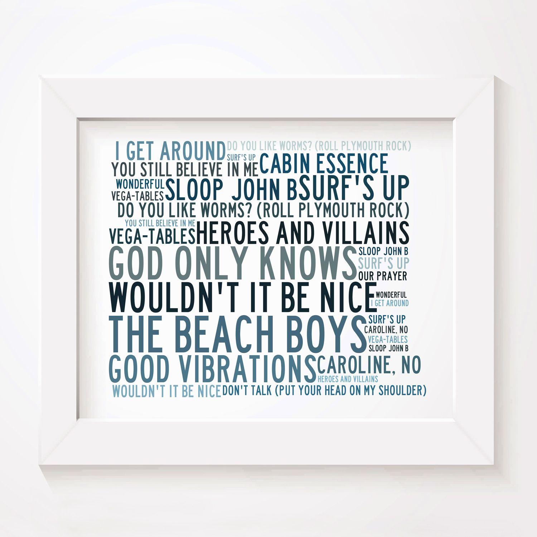 The Beach Boys Limited Edition Typography Lyrics Art Print Signed