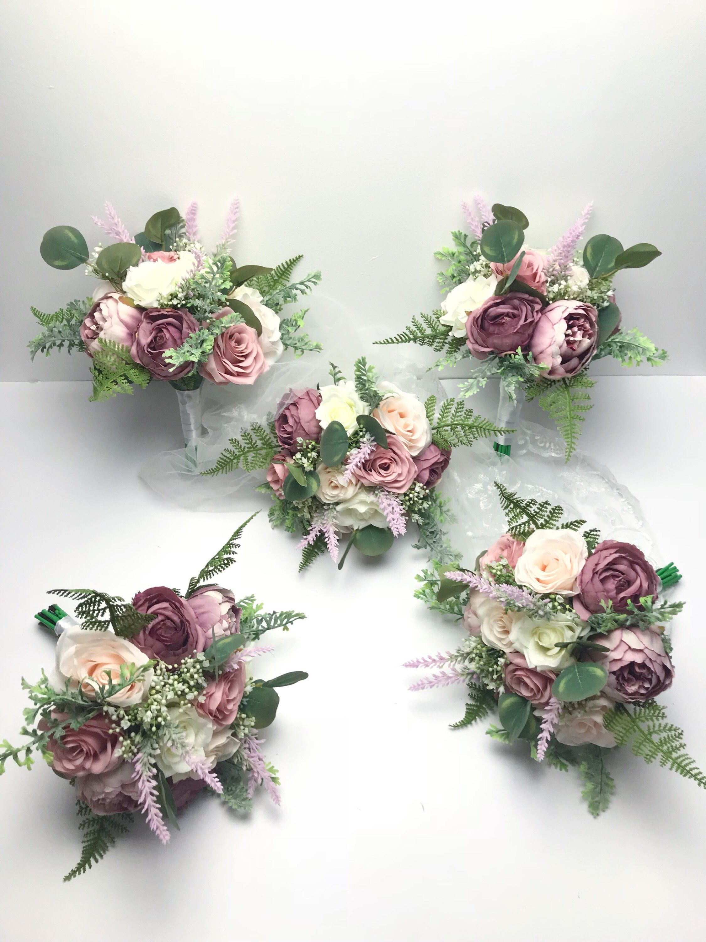 Set of 5 Bridesmaids Bouquets, Wedding Bouquets, Spring Wedding #bridesmaidbouquets
