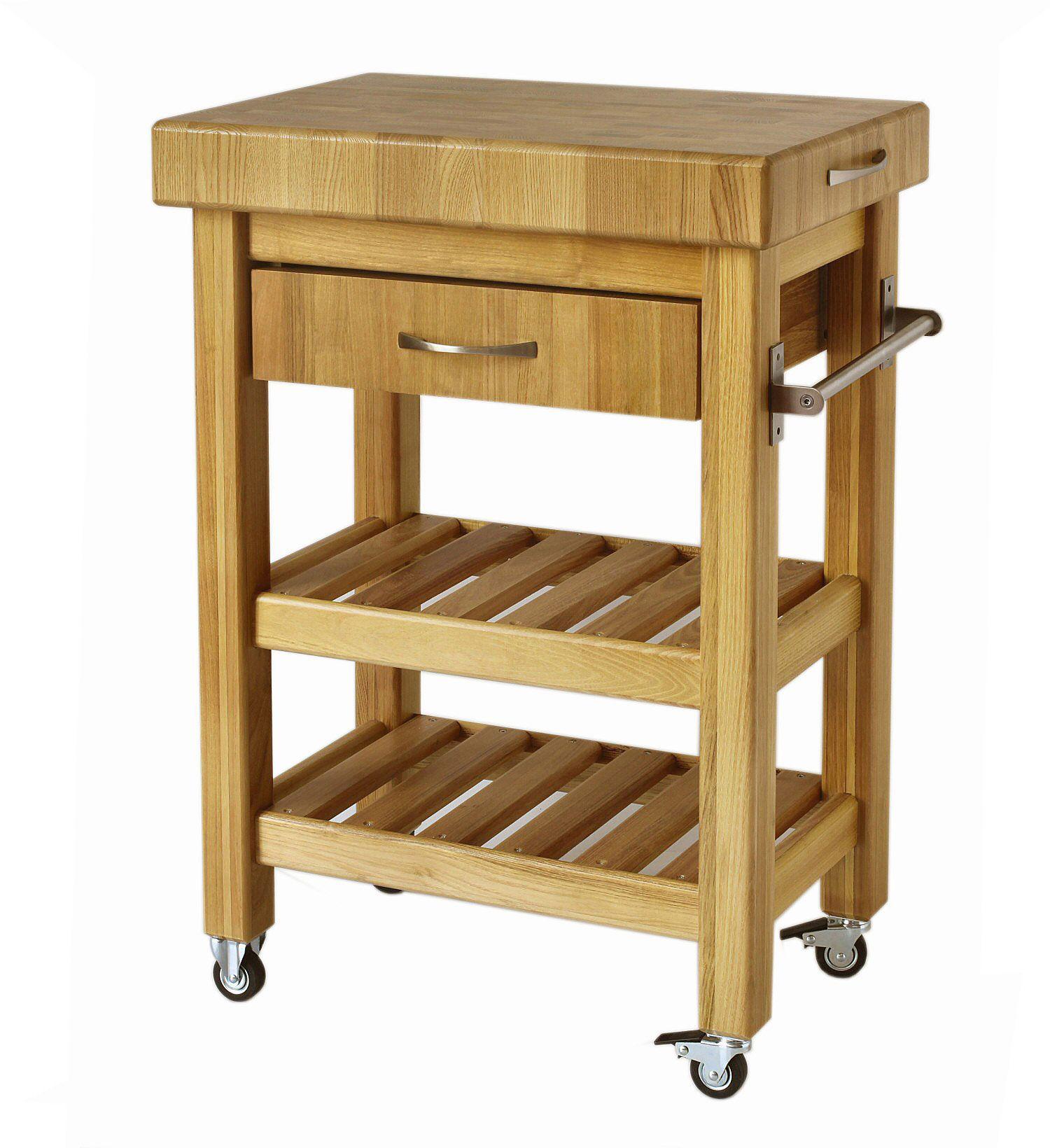 Carrello cucina in legno con cassetto | Carrello in legno per cucina ...