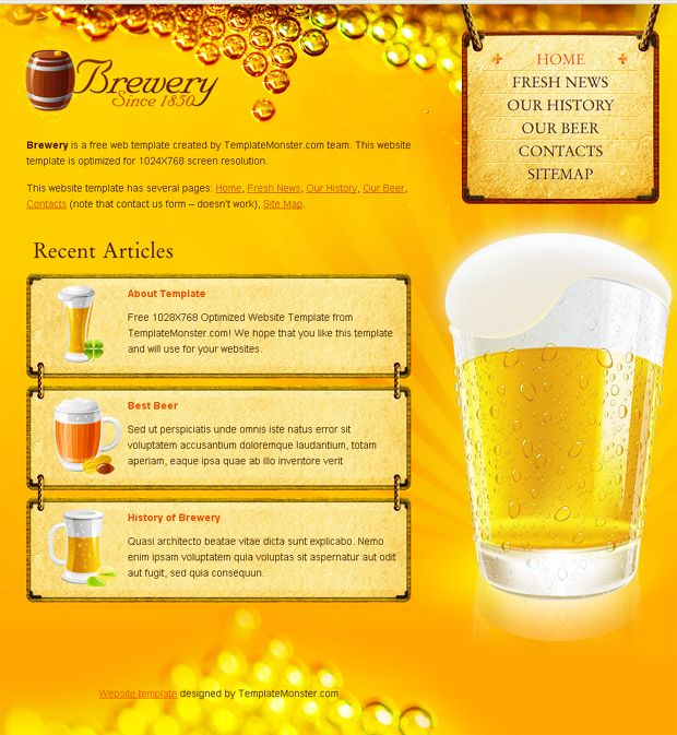 Free html5 beer website template nature web icons web design free html5 beer website template toneelgroepblik Choice Image
