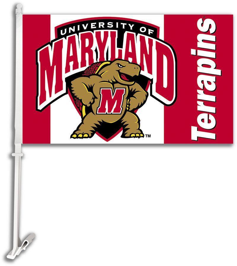 Maryland Terrapins Car Flag W/Wall Brackett