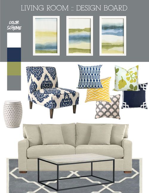 Mood board fresh blue green and grey living room - Grey and blue living room furniture ...