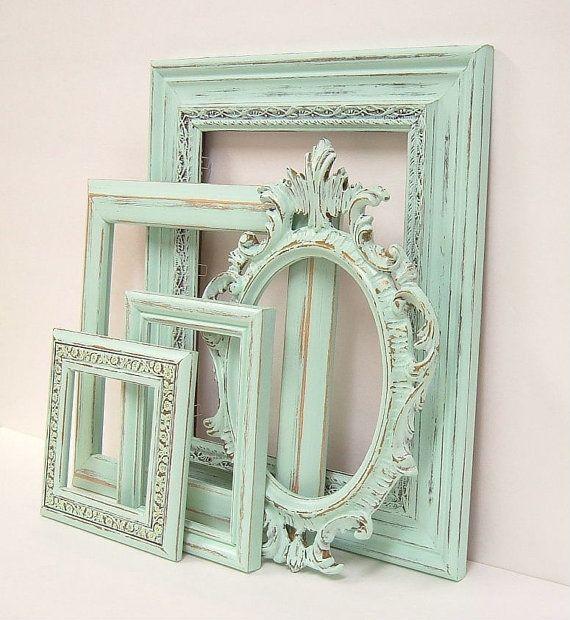 Shabby Chic Frames Pastel Mint Green Picture Frame Set Versierd ...
