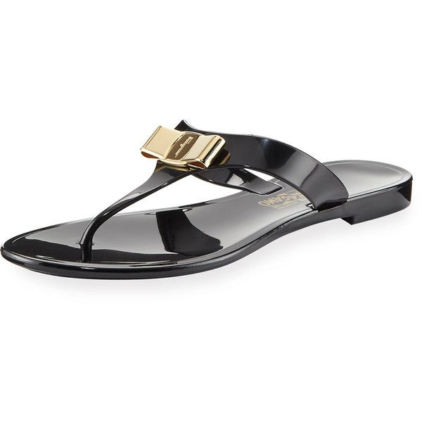 8691585532e4 Salvatore Ferragamo Farelia 1 Jelly City Flat Thong Sandal ( 260) ❤ liked  on Polyvore featuring shoes