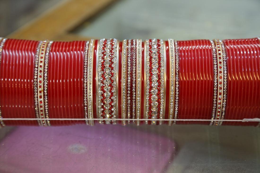 Wedding  Red Bangle Choora Set Designer Chura Ethnic Wedding JewelryPunjabi