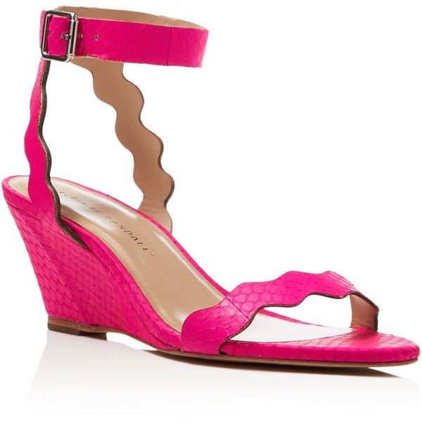 loeffler randall minnie snakeskin mid heel wedge sandals