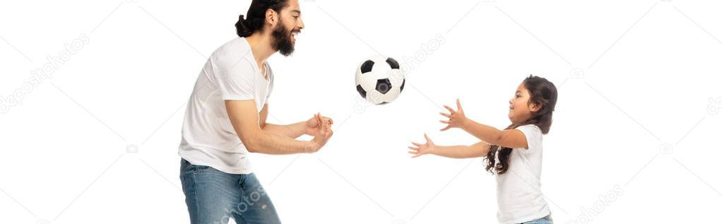 Panoramic Shot Happy Latin Father Playing Football Cute Daughter Isolated Stock