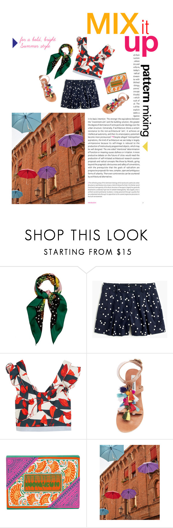 """""""Pattern Mixing for Summer"""" by mgoslin ❤ liked on Polyvore featuring Oris, Dolce&Gabbana, J.Crew, Johanna Ortiz, Steve Madden, Olympia Le-Tan, Summer, printmix and patternmixing"""