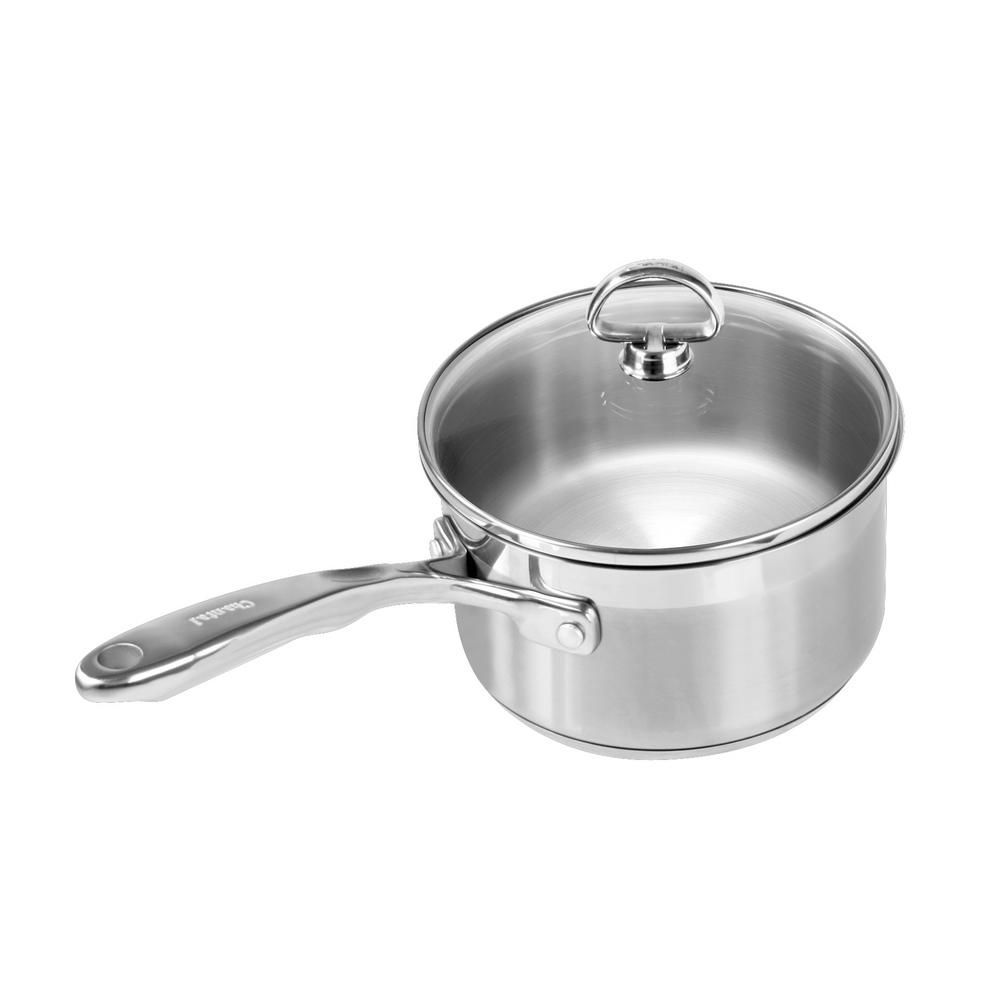 Chantal Induction 21 Steel 2 Qt Sauce Pan With Glass Lid In Stainless Steel Induction Cookware Cookware Set Brushed Stainless Steel