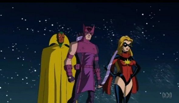 Vision, Hawkeye and Ms Marvel on The Avengers Earth's Mightiest Heroes Season 2
