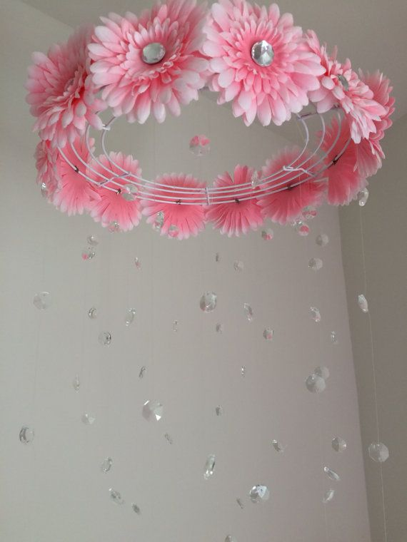 flower baby mobile baby girl mobile pink by JennabooBoutique