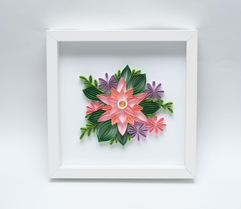 Recznie Robiona Dekoracja Mieszkania Kwiaty Z Papieru W Ramce Quilling Nowe Mieszkanie Quilling Frame Paper