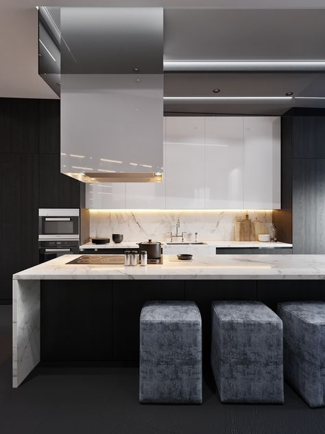 50 Stunning Interior Design Ideas That Will Take Your House To Another Level: Subtle Hidden Lighting And Drop Dowm Rangehood Together With Great Ceiling Details Really Take