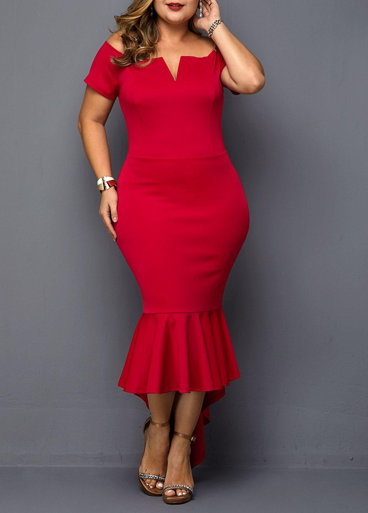 Notch neck plus size red mermaid dress red mermaid dress