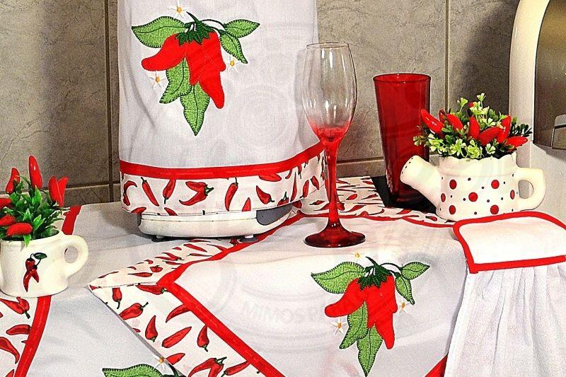 Itens para cozinha em bordado patchwork - pimentinha