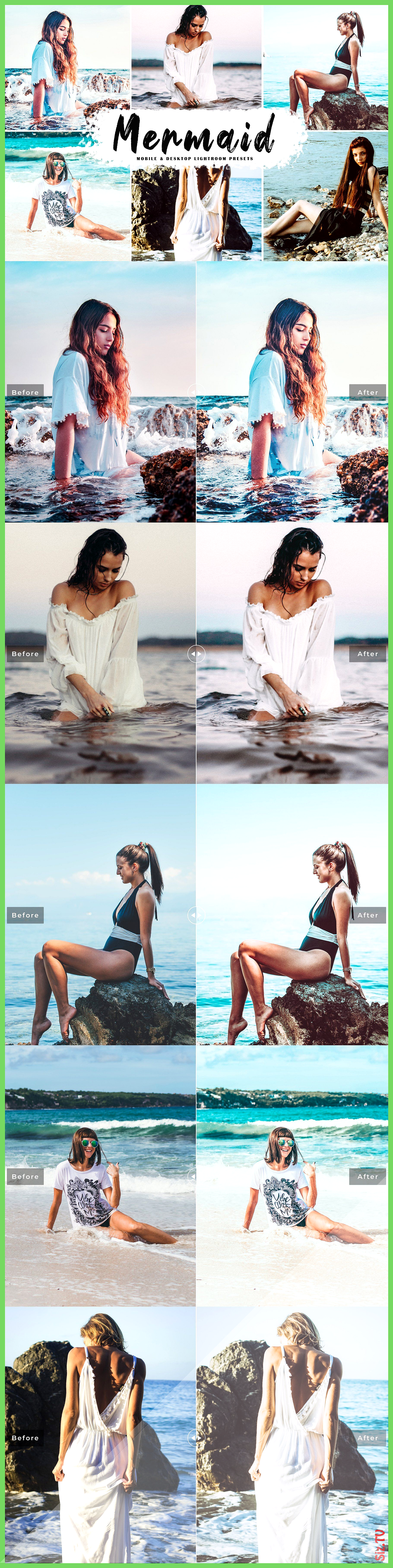 Mermaid Lightroom Presets will add bright soft faded and natural vibrant tones to your photos Made t...