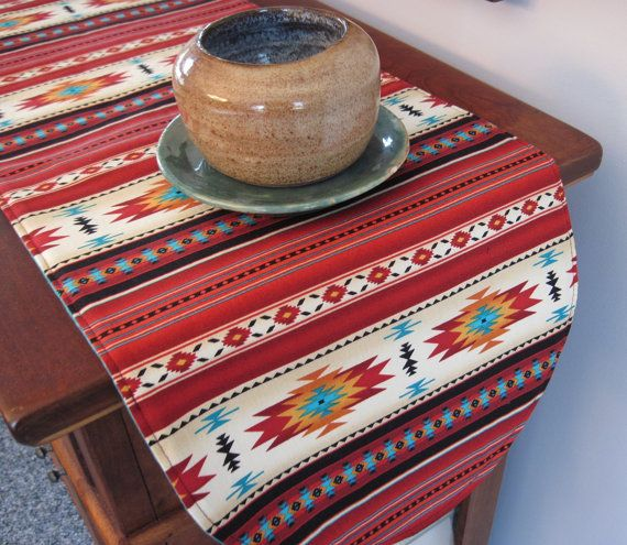 Southwestern Table Runner 36 Inch Reversible Orange Red And Turquoise Southwest  Table Runner Aztec Table Runner Sedona Table Runner