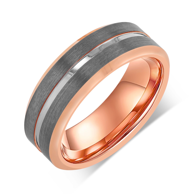 18k Rose Gold Tungsten Mens Wedding Band Engagement Tungsten Etsy In 2020 Mens Wedding Bands Tungsten Rose Gold Tungsten Tungsten Mens Rings