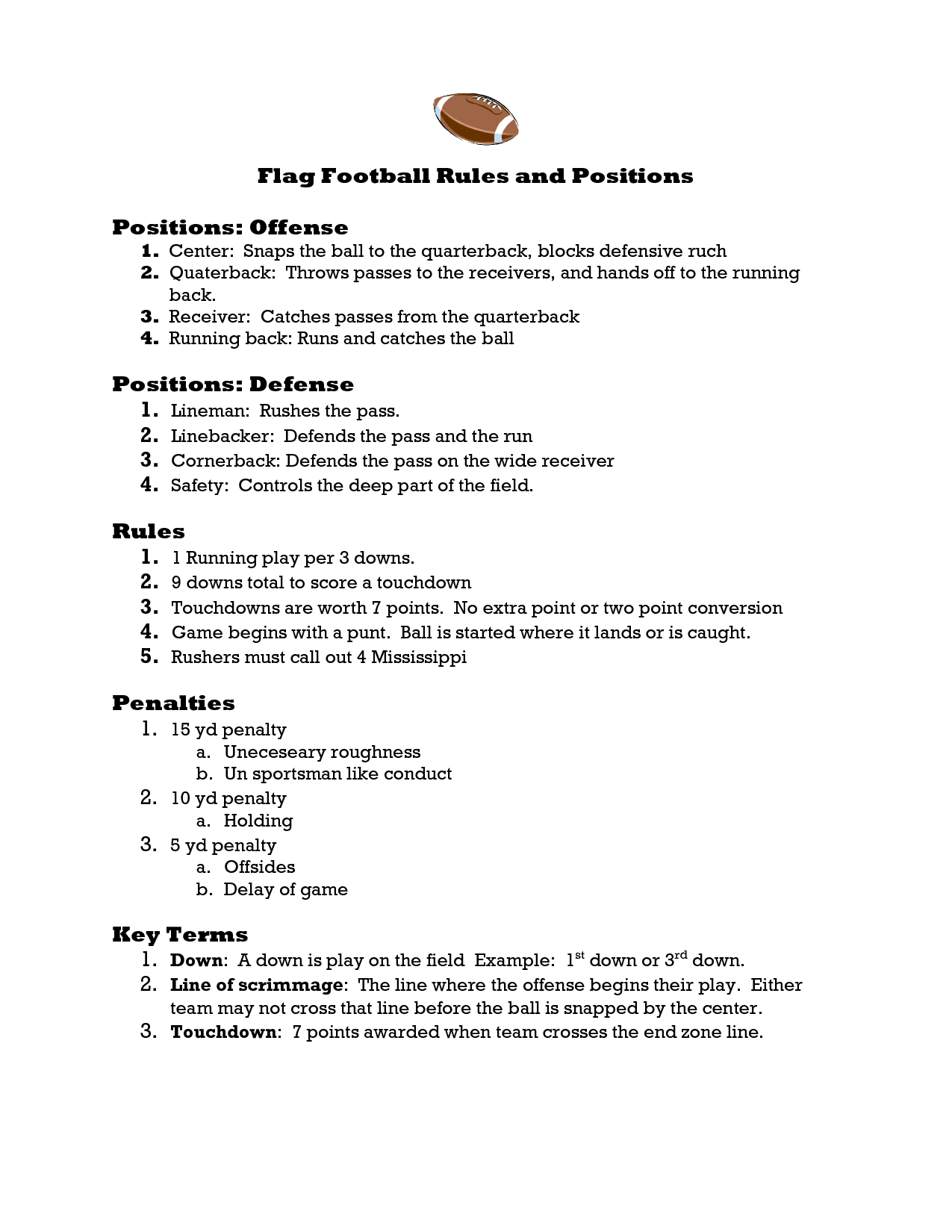image result for flag football rules [ 1275 x 1650 Pixel ]
