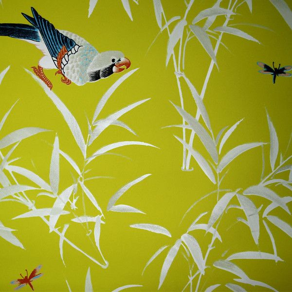 Bob Collins and Sons Yellow & White Bamboo & Birds Wallpaper ($461 ...