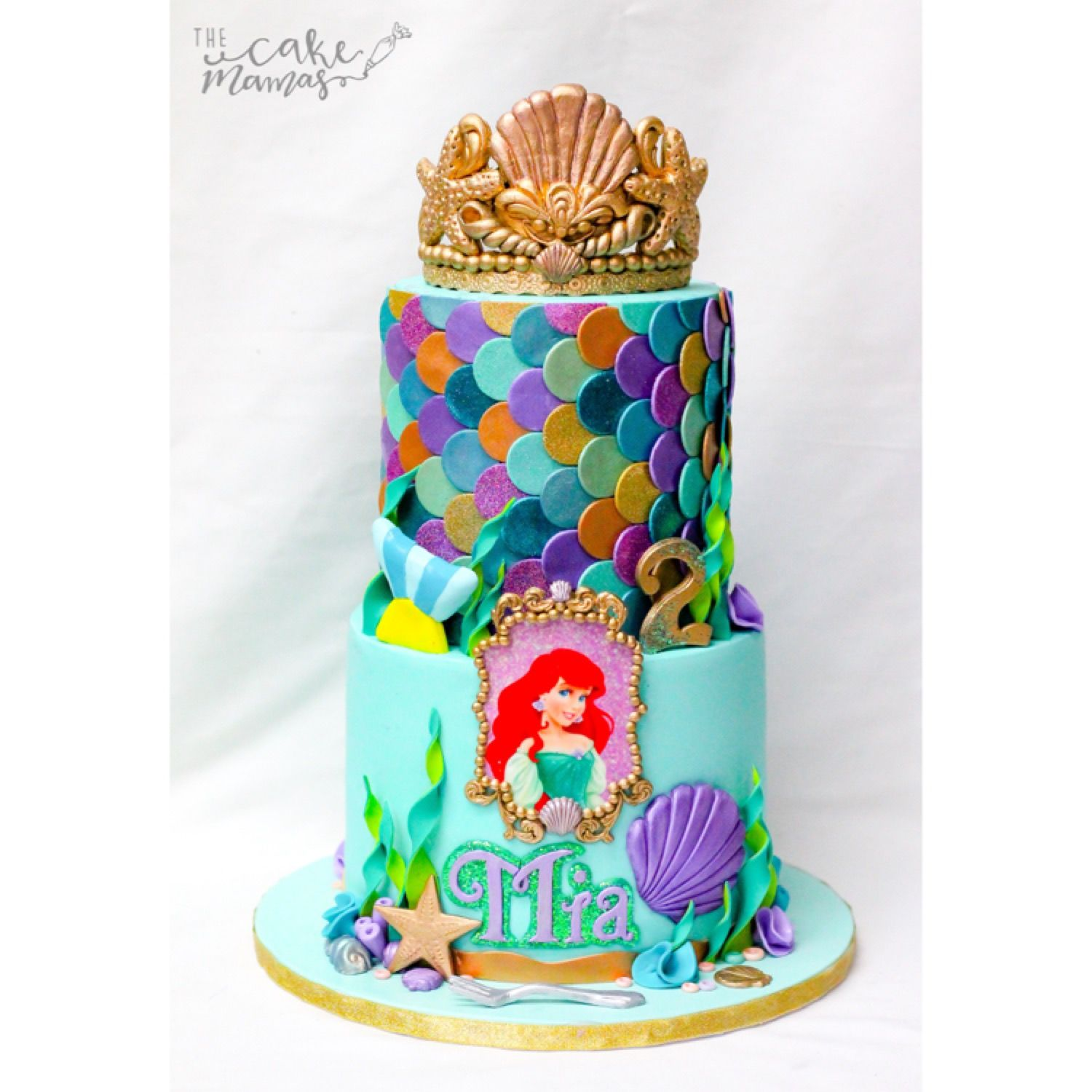 Little Mermaid inspired birthday cake for a special birthday girl