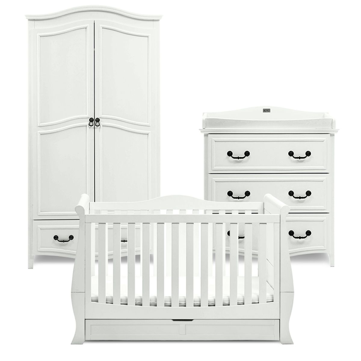 Windsor Antique White Wood Nursery Furniture Set For Vintage Traditional Nurseries Features A Cot Bed Wardrobe And Dressing Table Changing Changer