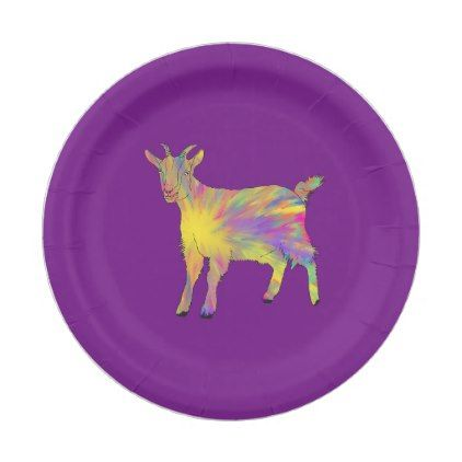 #funny - #Colourful Artsy Goat Design Paper Plate