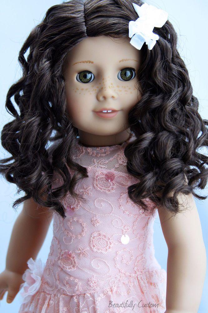 Custom American Girl Doll Mia Dark Brown Curly Hair Hazel
