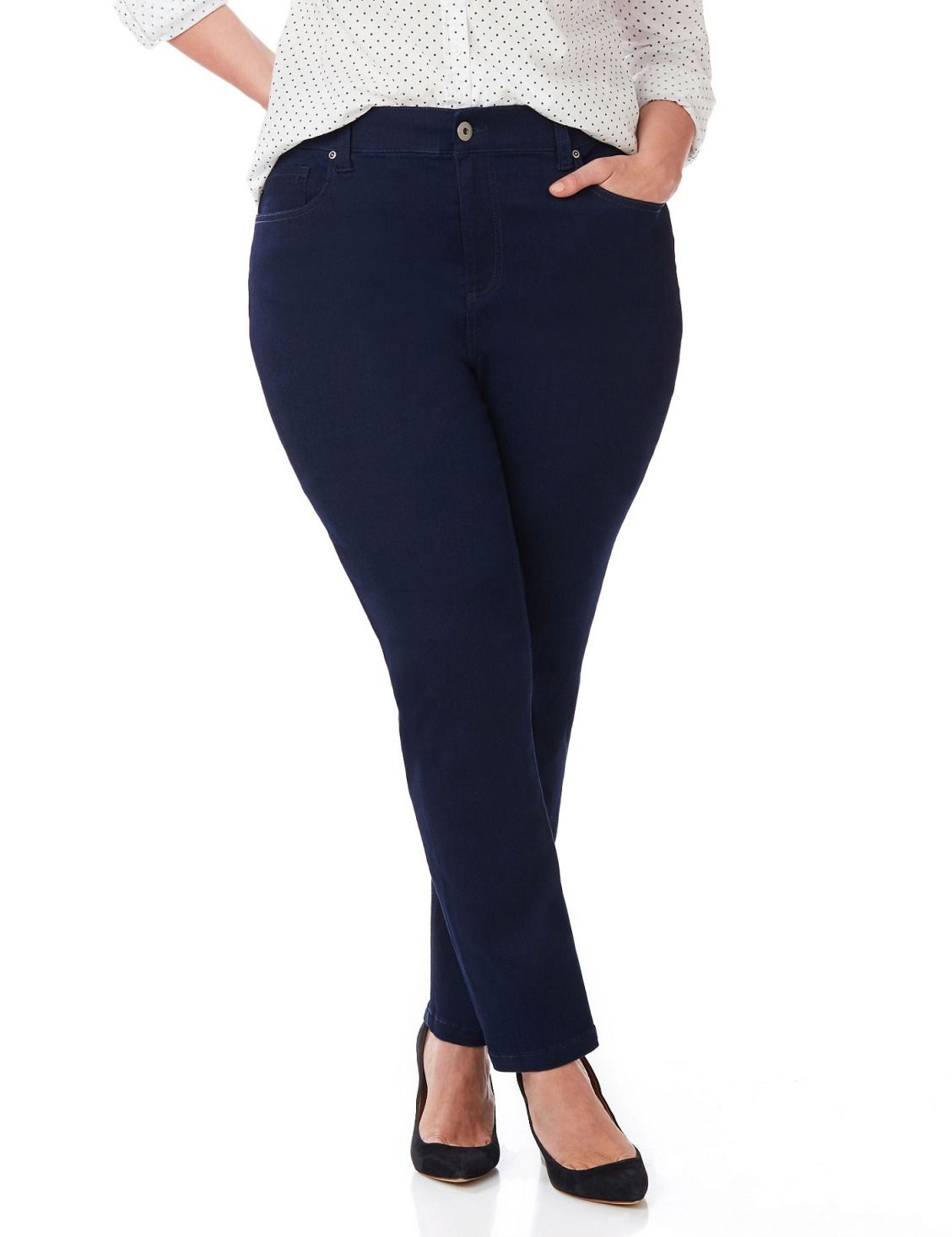 Sateen Stretch Pant | Catherines Our sleek, sateen jean is the perfect complement to your favorite tops and jackets. Elastic insets at the waistband stretch for a comfortable fit. Zip opening with button closure. Five-pocket design. Straight leg. Catherines pants are specifically designed with the plus size woman in mind.