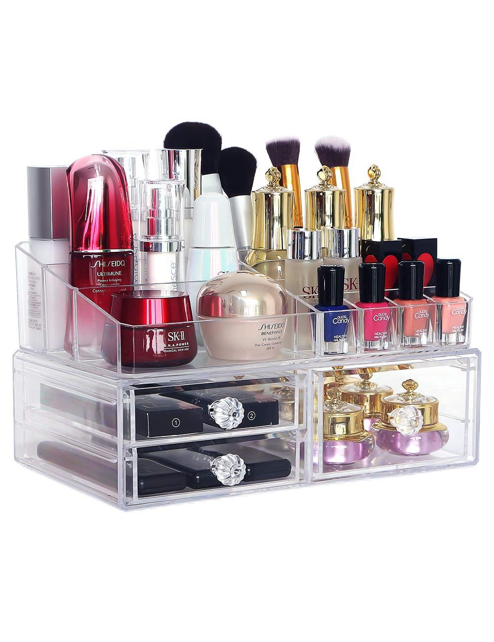 COOLBEAR Makeup Organizer Countertop Clear Acrylic