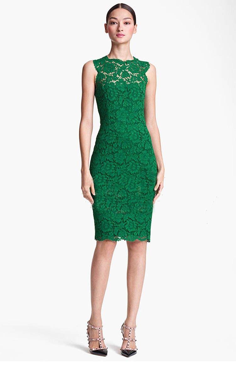 1863a95229 Morpheus Boutique - Green Lace Hollow Out Sleeveless Celebrity Pencil Hem  Dress