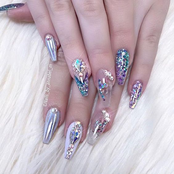 Blacksparkling Bling Nails Nails Nail Designs