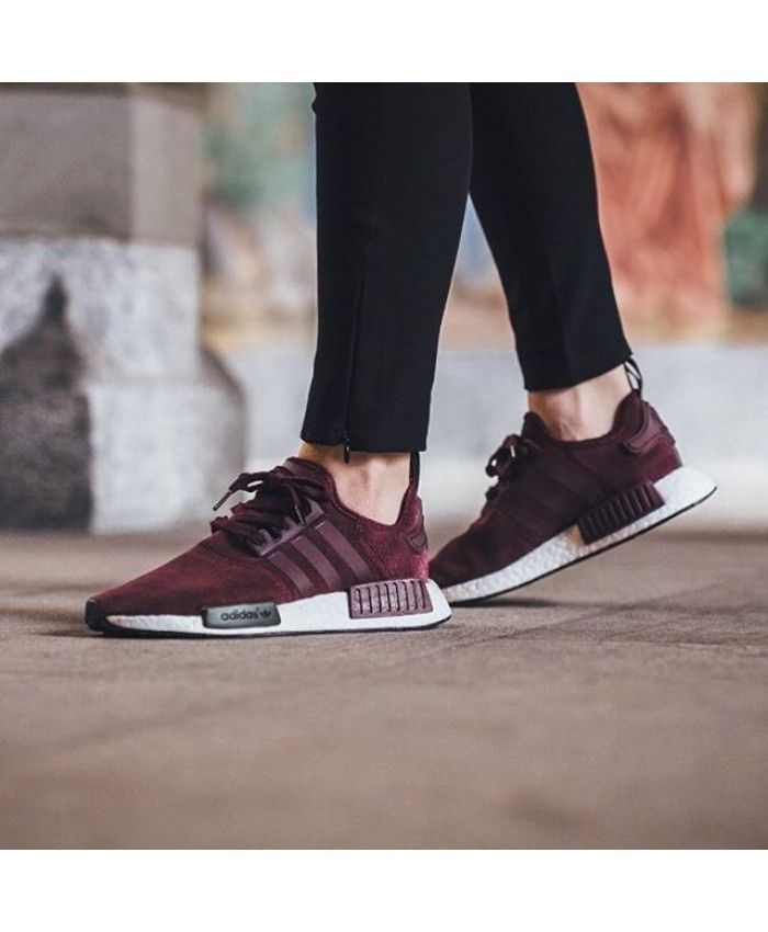 new products 19cb6 1601c Adidas NMD R1 Suede Burgundy Trainers