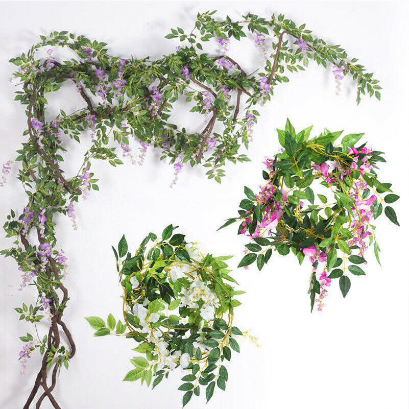 7FT Artificial Wisteria Vine Garland Plants Foliage Outdoor Home Trailing Flower