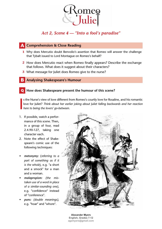 Romeo Juliet Igcse Act 2 Scene 4 6 Secret Wedding Worksheet Answer Teaching Resource And Shakespeare Funny Literature Summary Of 3