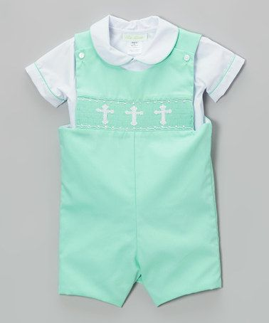 Take a look at this White Button-Up & Mint Green Crosses John Johns - Infant & Toddler by BeMine on #zulily today!