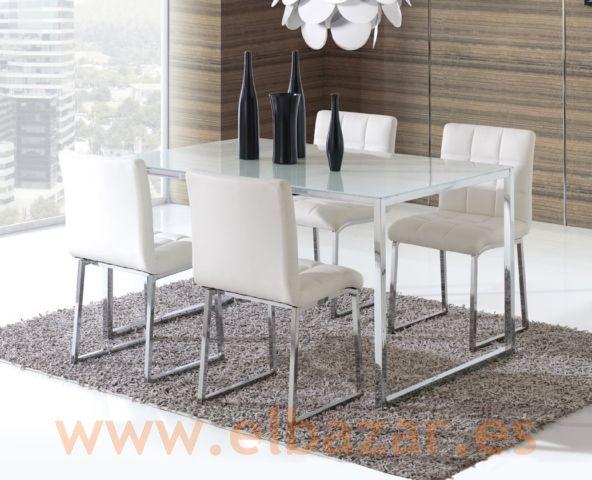 Mesa crido comedor sal n cromado y cristal blanco - Mesas cristal salon ...