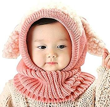 iHomey Baby Girls Boys Toddler Winter Hat Scarf Set Cutest Earflap Hood  Warm Knit Hat Scarves Ears Snow Neck Warmer Cap Kids 6-36 Months (Pink) f1f9eccc7b67