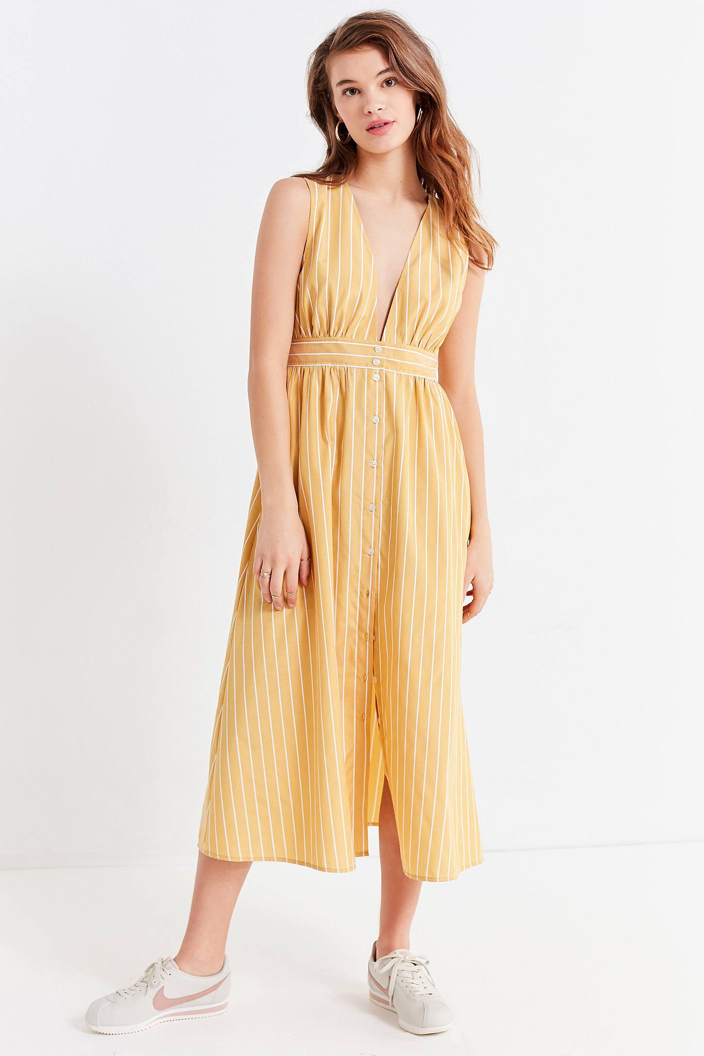 f26f6580fa7d UO Striped Button-Down Plunging Midi Dress