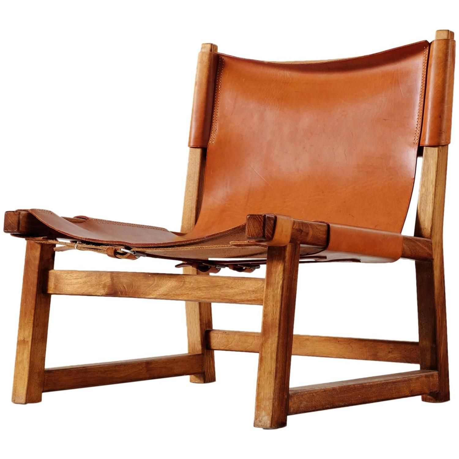 Scandinavian Hunting Chair In Cognac Leather Hunting Chair Chair Mid Century Leather Chair