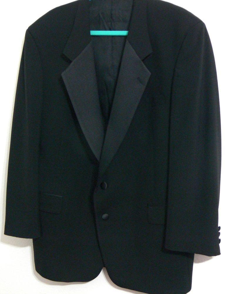 Chaps Ralph Lauren Black Tux Tuxedo Dinner Jacket Satin Lapel Sz 44R Dress Coat #Tuxedo