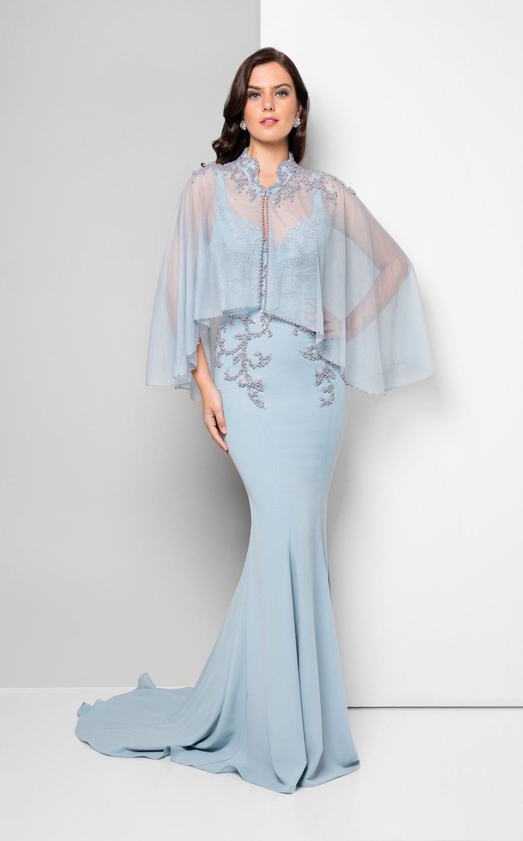 Terani Couture Portrait Neckline + Illusion Cape Gown, Style ...