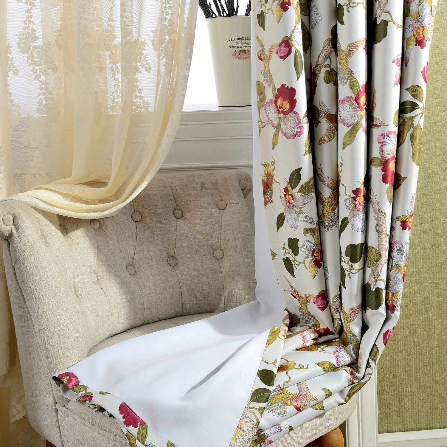 Flower Blackout Curtains 96 Inch Long Anady Top 2 Panel Bird