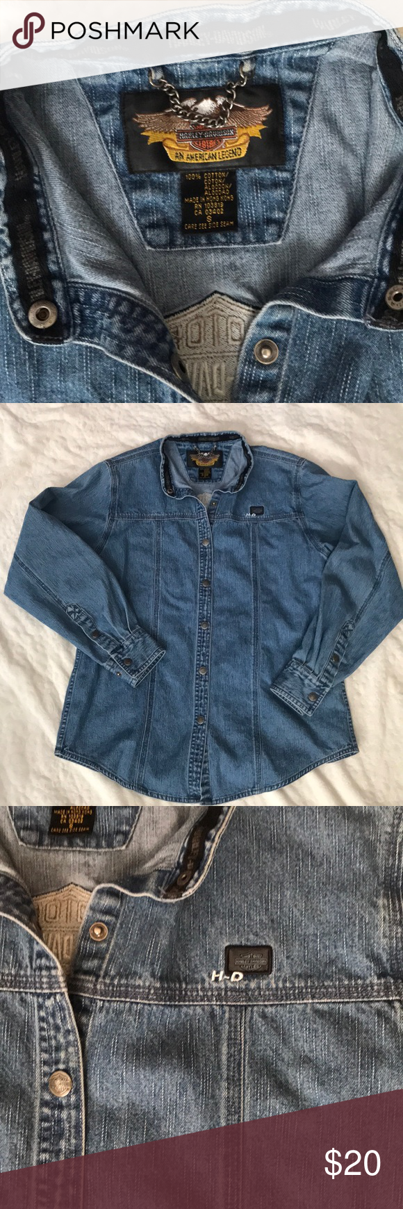 83fdc3adb85 Harley Davidson Denim Shirt Size Small Long sleeve Harley Davidson women s  size small shirt. Snap buttons. Excellent condition. Harley-Davidson Tops  Button ...