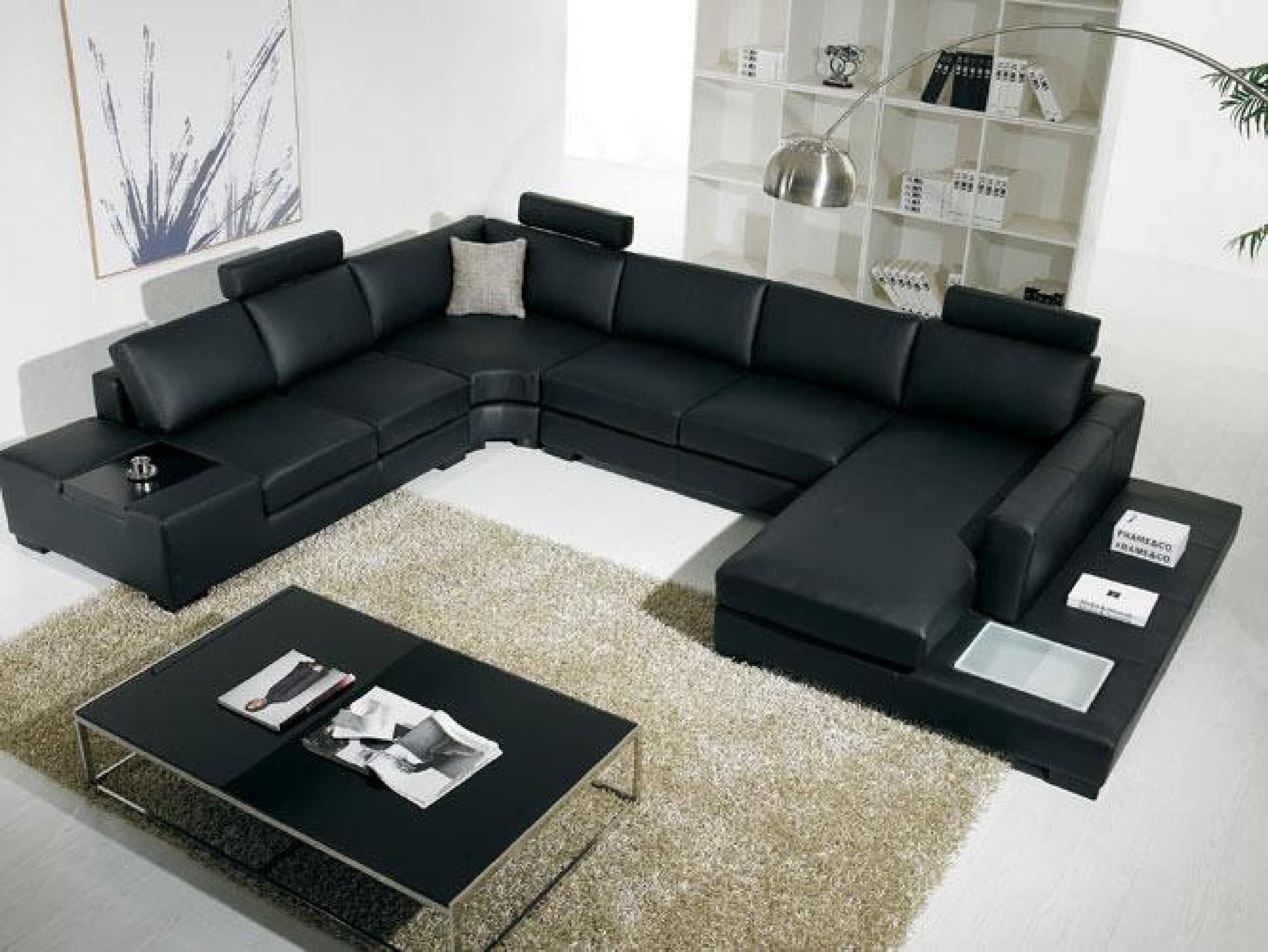 Black Modern Sectional Sofa With End Table Corner - Http