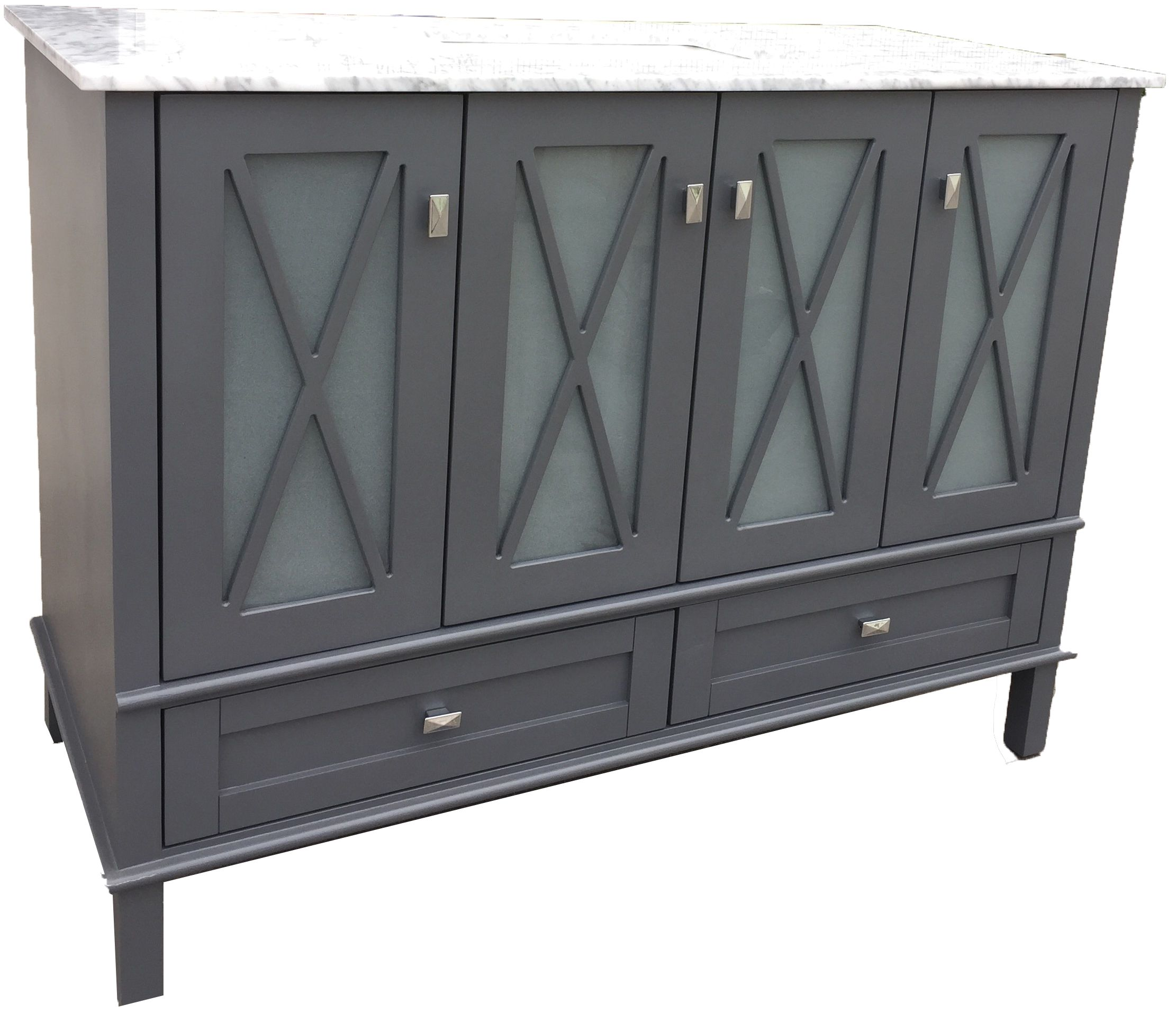 HOBO:MADEIRA VANITY IN GREY WITH WHITE CARRARA TOP